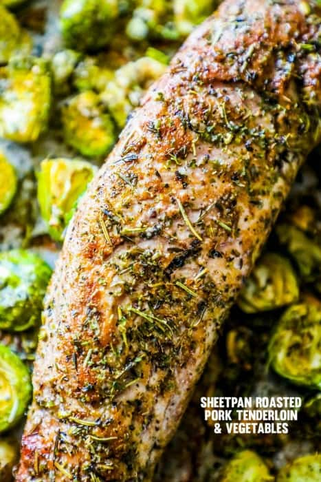 Sheet pan roasted pork tenderloin and veggies is a delicious, super-easy meal that is great for meal prep or a healthy dinner the whole family loves!