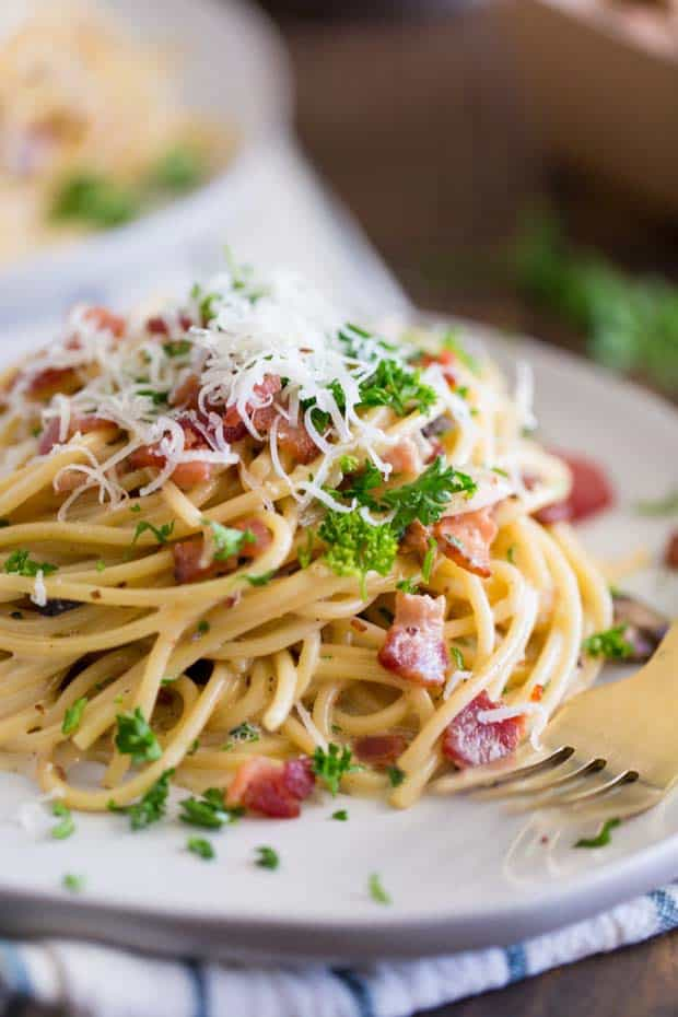 Plate of Spaghetti Bacon Carbonara Sauce