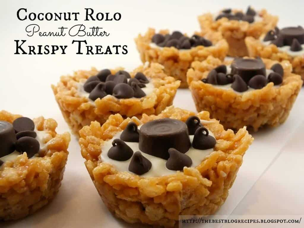 Coconut Rolo Peanut Butter Krispy Treats - The Best Blog Recipes