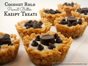 Coconut Rolo PB Krispy Treats recipe from {The Best Blog Recipes}