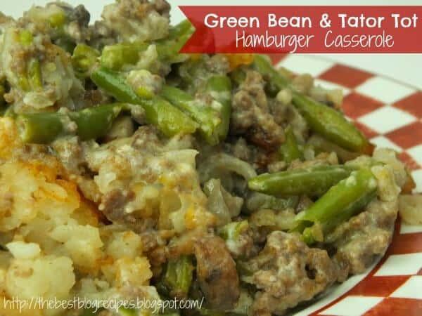 Green Bean & Tator Tot Hamburger Casserole recipe from {The Best Blog Recipes} small