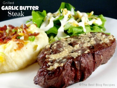 Grilled Garlic Butter Steak | thebestblogrecipes.com
