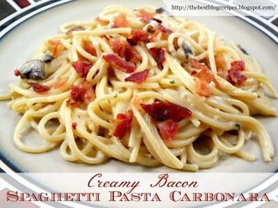 Creamy Bacon Spaghetti Pasta Carbonara recipe from {The Best Blog Recipes}