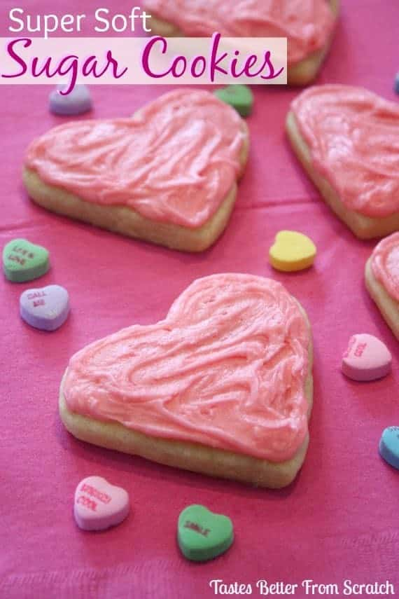 Super Soft Sugar Cookies are the perfect treat for Valentines of for any occasion all year round.  They don't have to be shaped like a heart.