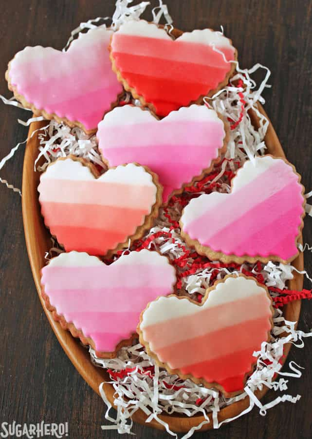These Brown Butter Heart Cookies are a gourmet twist on sugar cookies! They have a deep, rich, caramelized taste, and are decorated with beautifully painted fondant designs.