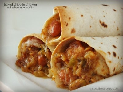 Baked Chicken Chipotle and Salsa Verde Taquitos | The Best Blog Recipes