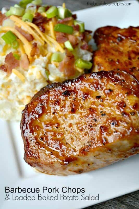 Pan Seared & Oven Roasted Barbecue Pork Chops with Loaded Baked Potato ...