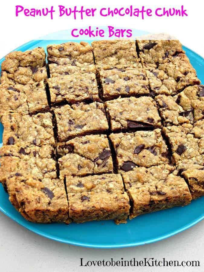 PB Chocolate Chunk Cookie Bars | The Best Blog Recipes