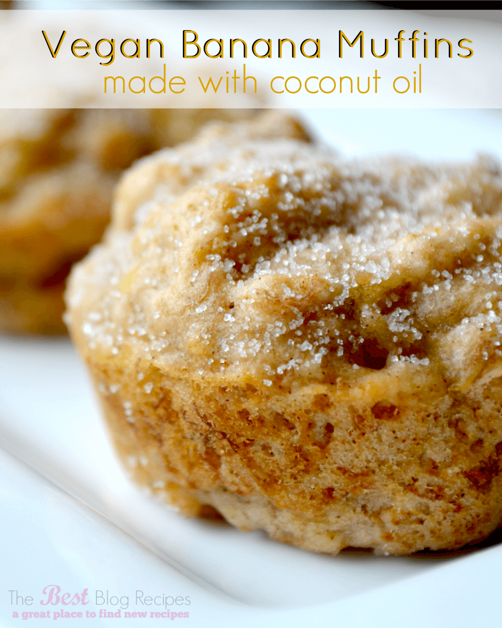Vegan Banana Muffins made w/ Coconut Oil! A healthy and seriously delicious treat that you're whole family will love! thebestblogrecipes.com #muffins #banana #vegan