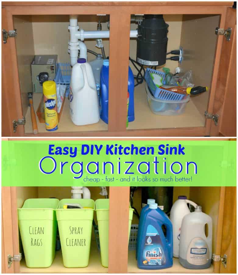 Organized Kitchen Before And After: Easy DIY Under Kitchen Sink Organization