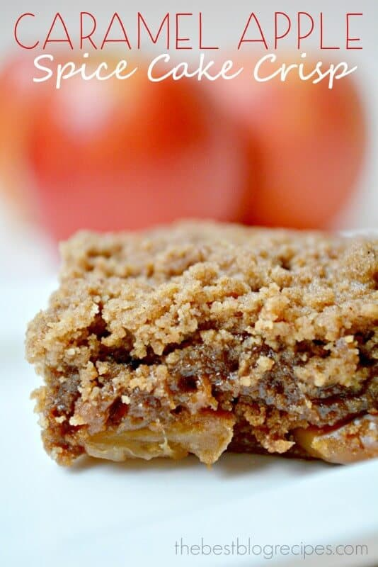 Caramel Apple Spice Cake Crisp is made in the slow cooker and is one of the easiest desserts you're ever going to make!   thebestblogrecipes.com   #dessert #recipe #apple #crisp
