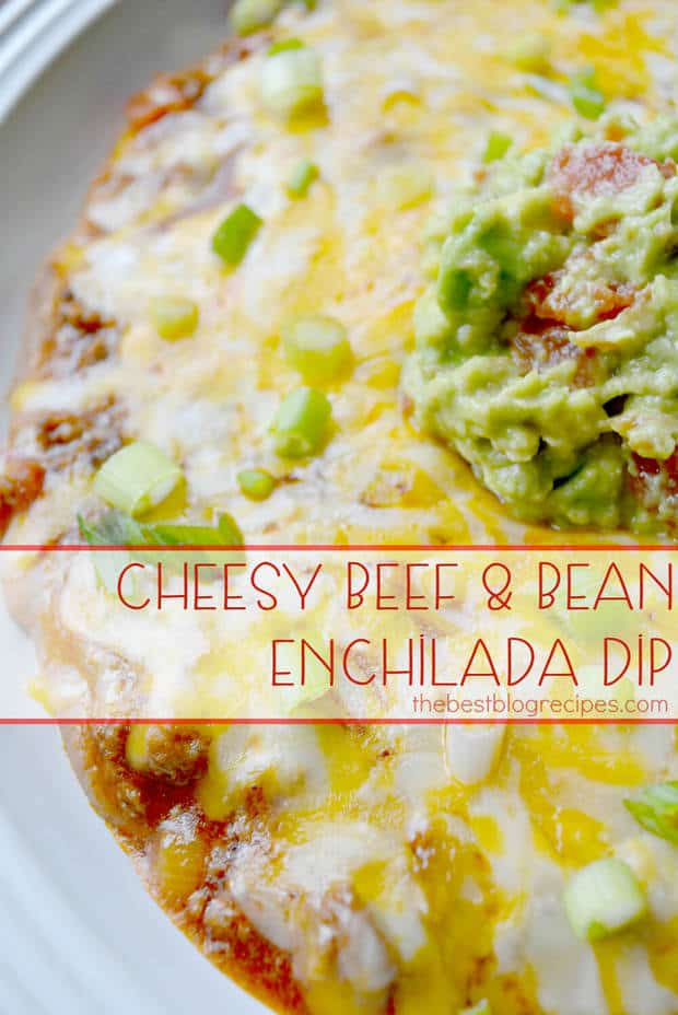 Cheesy Beef & Bean Enchilada Dip | thebestblogrecipes.com | #dip #beef #mexican #recipes