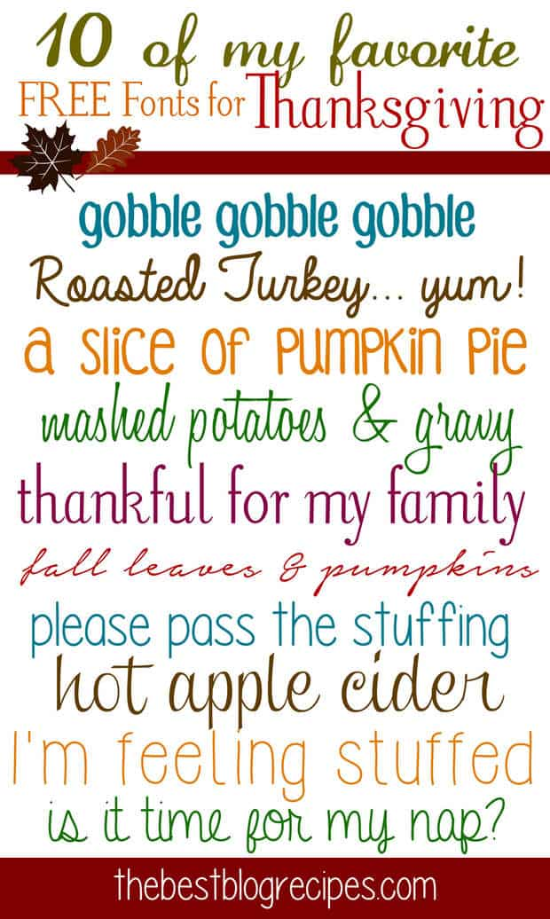 fonts thanksgiving font recipes fun cricut recipe thebestblogrecipes cursive fall handwriting printable projects fancy silhouette scrapbooking funky cards typography type