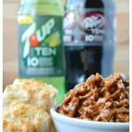 Slow Cooker Dr. Pepper TEN Barbecue Pulled Pork with Lightened up 7UP TEN Biscuits