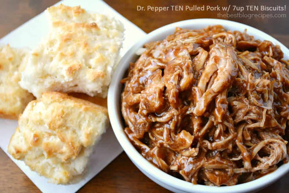 Dr. Pepper TEN Barbecue Pulled Pork with Lightened up 7UP TEN Biscuits from thebestblogrecipes.com  #drinkTEN #ad