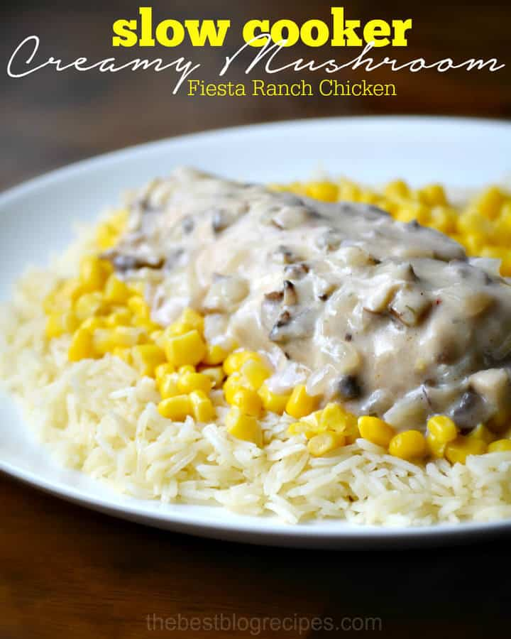 Slow Cooker Creamy Mushroom Fiesta Ranch Chicken only takes a few minutes to put in the crock pot and then you have a really delicious meal for dinner!