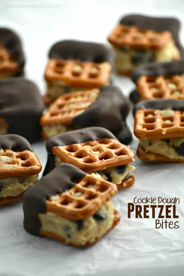 Cookie Dough Pretzel Bites-- Part of 21 Recipes to make if you're OBSESSED with Cookie Dough!