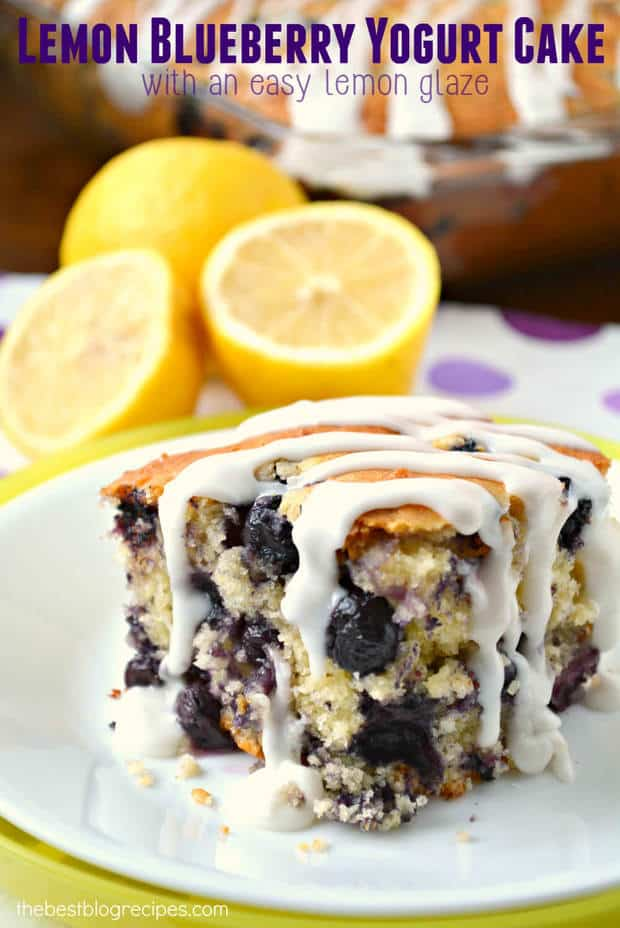 This Lemon Blueberry Yogurt Cake with Lemon Glaze is rich and dense ...