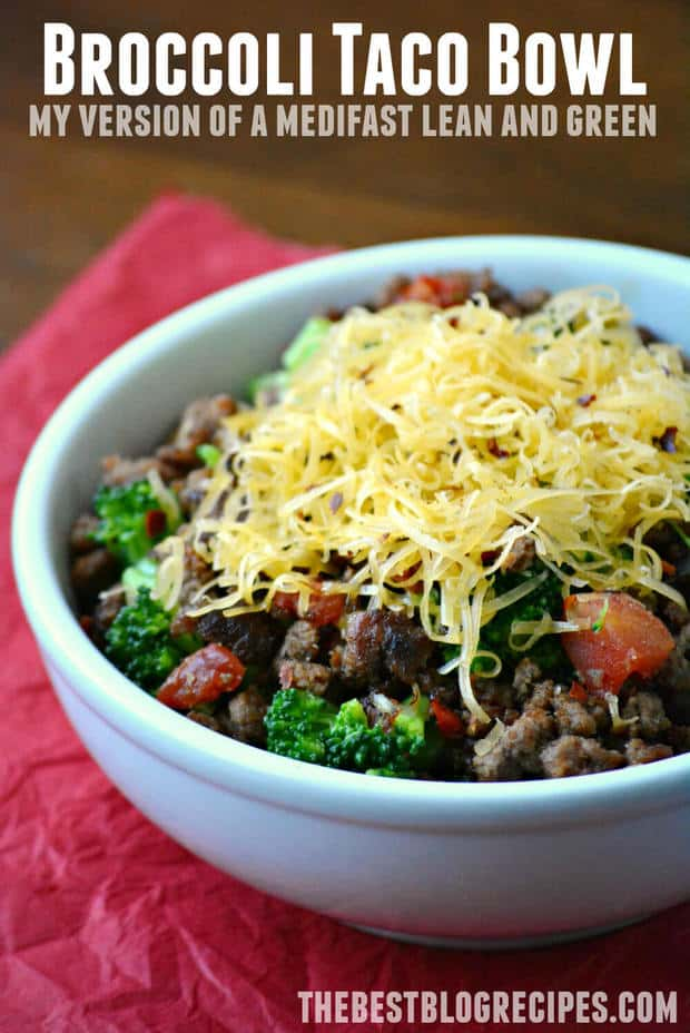 My Version of a Medifast Lean and Green Meal: Broccoli Taco Bowl