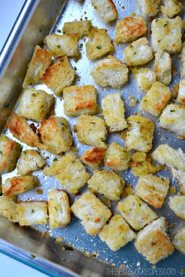Easy Parmesan Garlic Croutons Recipe