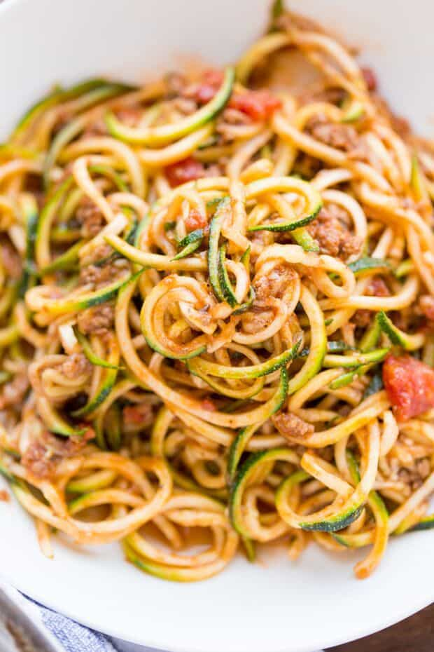 ZUCCHINI NOODLES IN A LOW CARB MEAT SAUCE