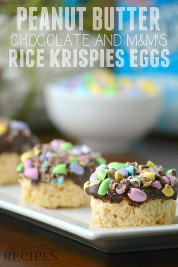 Peanut Butter Chocolate and M&M's Rice Krispies Eggs Snack #Ad #KreateMyHappy