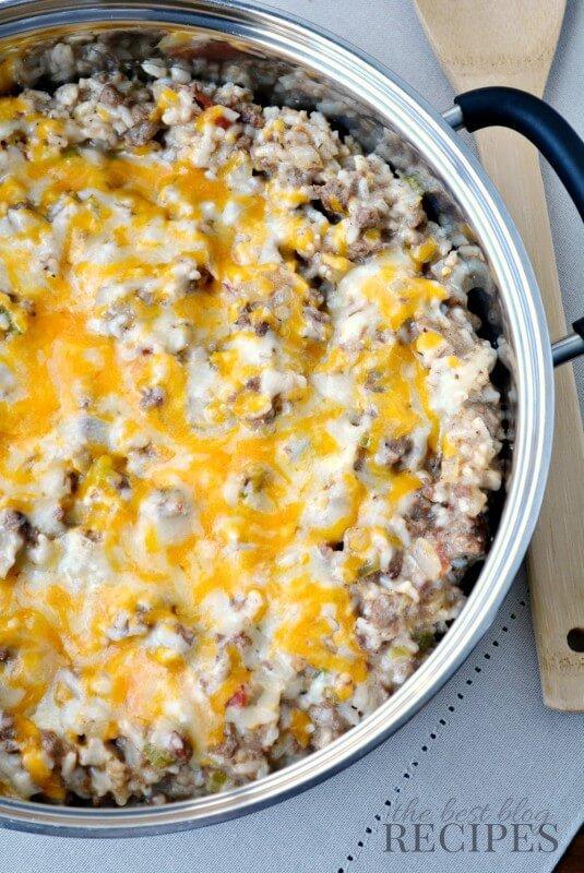 Easy Portobello Mushroom Beef & Cheese Rice Skillet