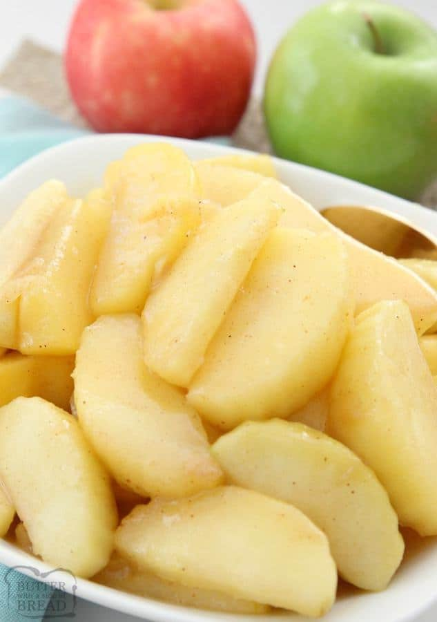 Cinnamon Apples recipe that's simple to make & spiced with cinnamon & nutmeg. Fried with butter & brown sugar, they taste incredible with dinner or dessert!