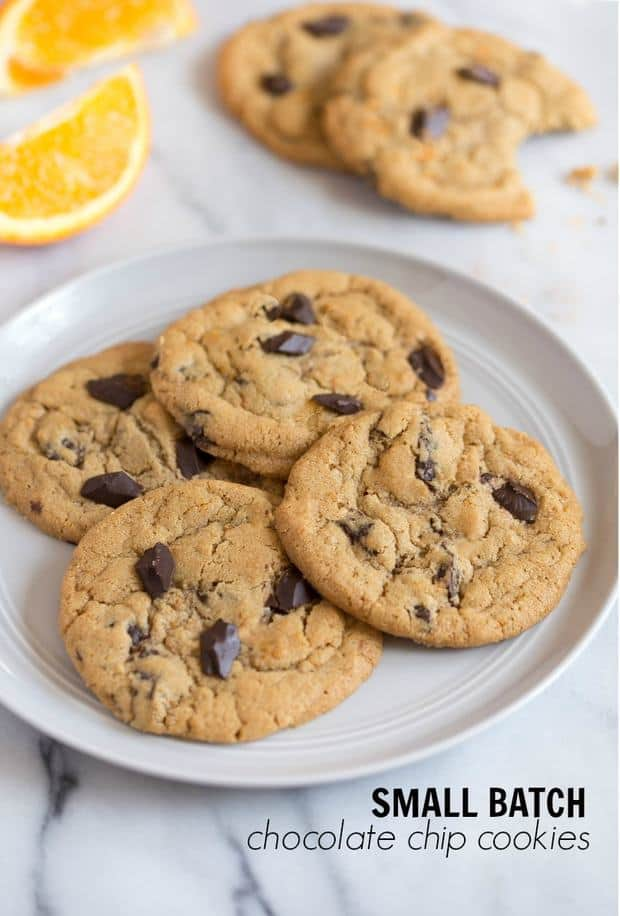 Small batch chocolate chip cookies for your next cookie craving! Make just a half batch of chocolate chip cookies the next time you need a warm, gooey chocolate chip cookie!