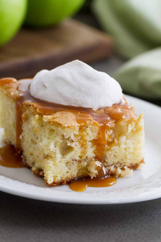 Simple and classic – this tender Apple Cinnamon Cake has a cinnamon sugar ribbon running through it. The cinnamon whipped cream and caramel topping turn this into a special dessert.