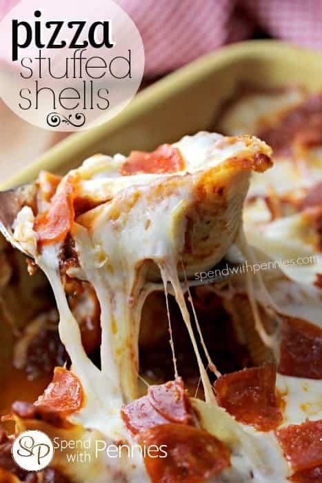 PiThese pizza stuffed pasta shells are filled with a beef and pepperoni filling topped with mozzarella cheese and more delicious pepperoni!  This bakes up delicious with a gooey cheesy topping!