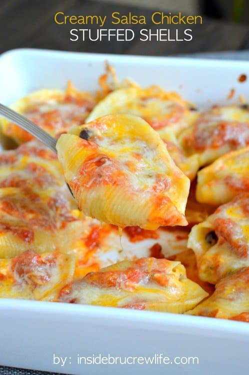 Creamy Salsa Chicken Stuffed Shells is an easy, but delicious meal to serve on busy nights.  Cheesy goodness is always a winner in our house.