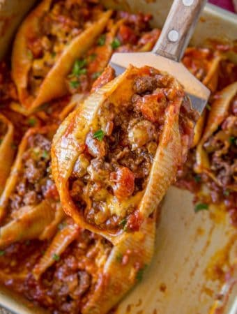 Cheesy Taco Stuffed Shells--Part of The Best Pull Stuffed Shells Recipes