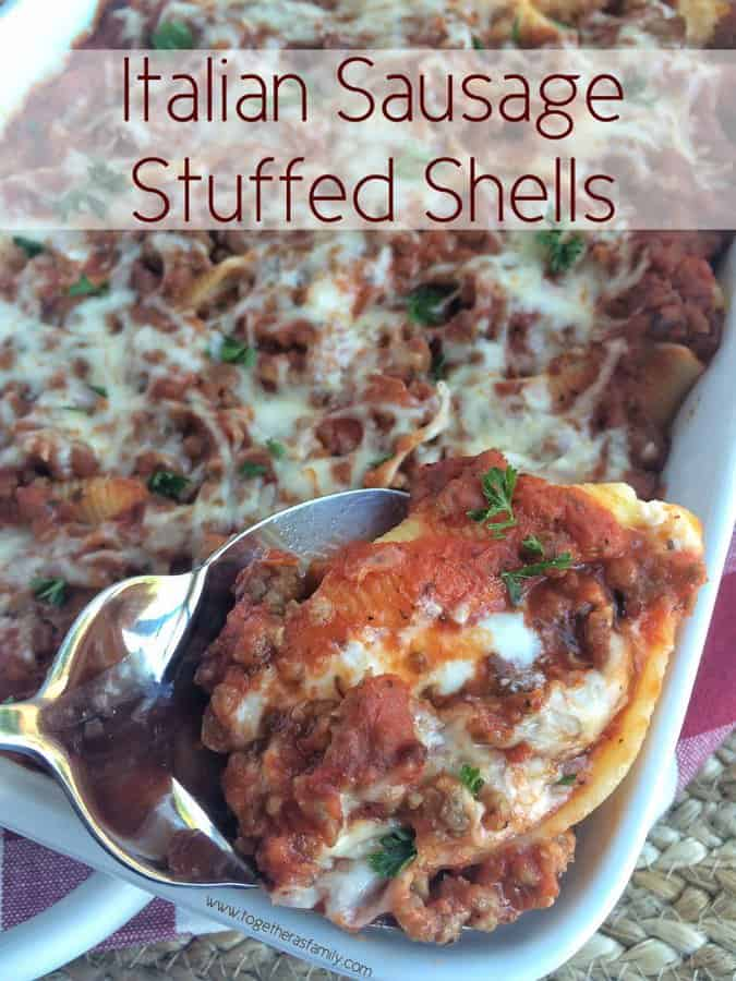 An easy homemade Italian sausage meat sauce poured over cheesy stuffed pasta shells. These Italian sausage stuffed shells are a family-friendly dinner that tastes just like it came from an Italian restaurant.