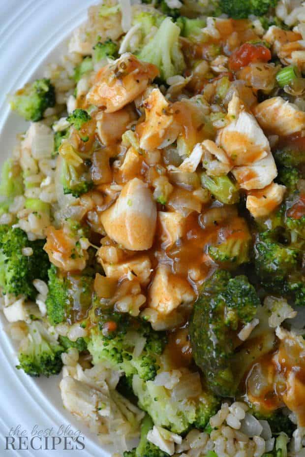 Chicken Broccoli Brown Rice Dinner with Sweet Onion Gravy