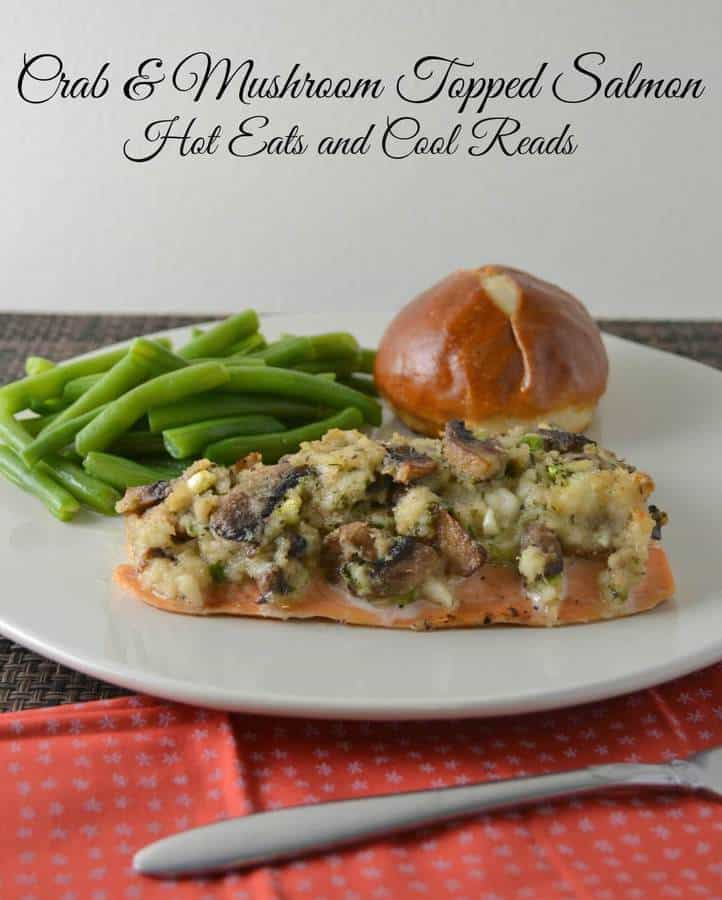 Crab and Mushroom Topped Baked Salmon is a delicious way to enjoy a piece of salmon for dinner! | Featured on The Best Blog Recipes