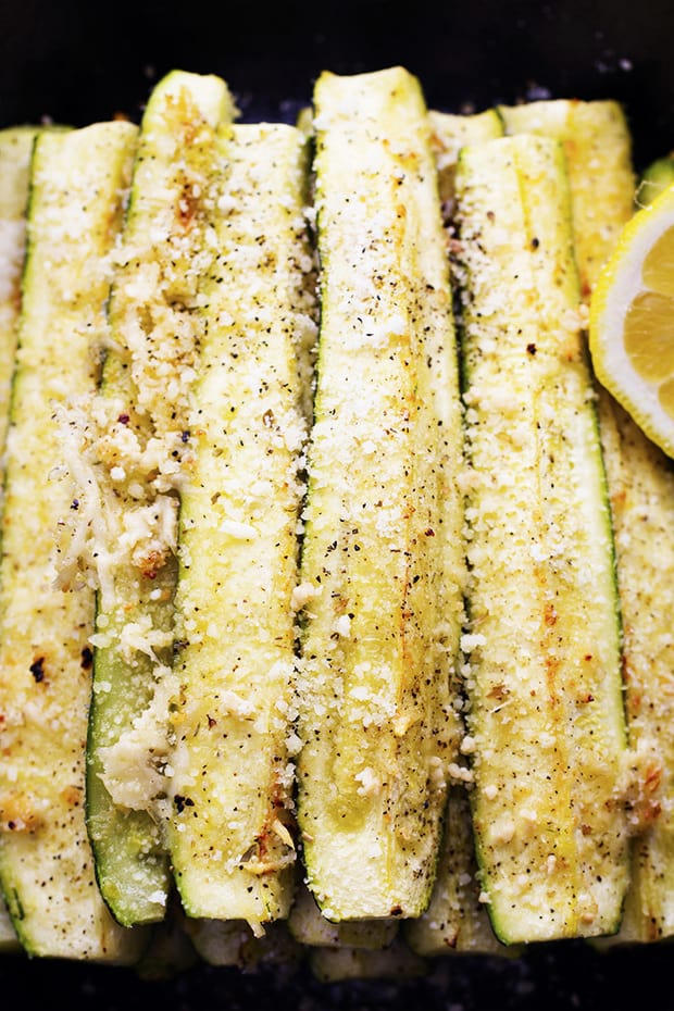 ROASTED PARMESAN GARLIC ZUCCHINI SPEARS