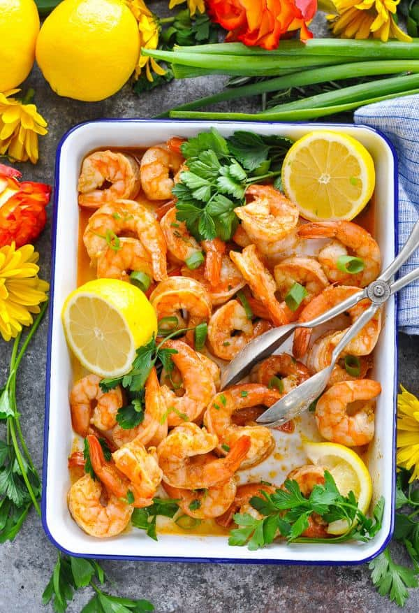 """Americans eat more shrimp than any other seafood, so on May 10 we're celebrating """"National Shrimp Day"""" with a quick recipe for Sheet Pan New Orleans Barbecue Shrimp! Perfectly seasoned with Zatarain's Creole Seasoning, this easy dinner comes together in just 20 minutes. Plus, you can't beat the easy cleanup, y'all!"""