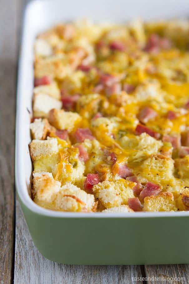 Prepare breakfast ahead of time for easy mornings with this easy and family pleasing Ham and Cheese Breakfast Casserole Recipe.