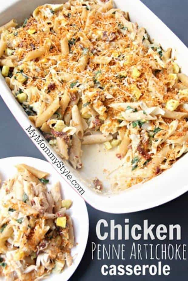 This Chicken Penne Artichoke Casserole is the perfect family dinner - easy, flavorful, and full of healthy veggies! | Featured on The Best Blog Recipes