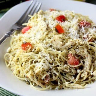 Are you a Pesto fan? This Chicken Pesto Pasta dish is fast and delicious! Plus, it's perfect for warmer weather because you don't have to use the oven.| Featured on The Best Blog Recipes