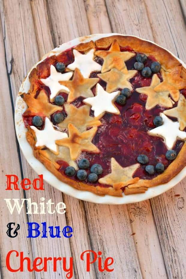 It doesn't get much more American than this Red, White and Blue Cherry Pie. How perfect is this for summer and 4th of July celebrations?! | Featured on The Best Blog Recipes