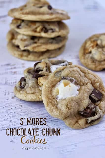 What's better than a chocolate chunk cookie with graham cracker and gooey marshmallows? Nothing, so don't miss these S'mores Chocolate Chunk Cookies! | Featured on The Best Blog Recipes