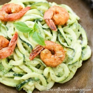 Creamy Avocado Zoodles with Chipotle Lime Shrimp is delicious and you don't even have to cook the zoodles! It's on the table in less than 15 minutes! | Featured on The Best Blog Recipes