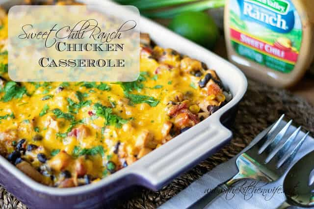 Need a quick dinner idea? This Sweet Chili Ranch Chicken Casserole takes a few simple ingredients and 30 minutes for a dish your whole family will love. | Featured on The Best Blog Recipes