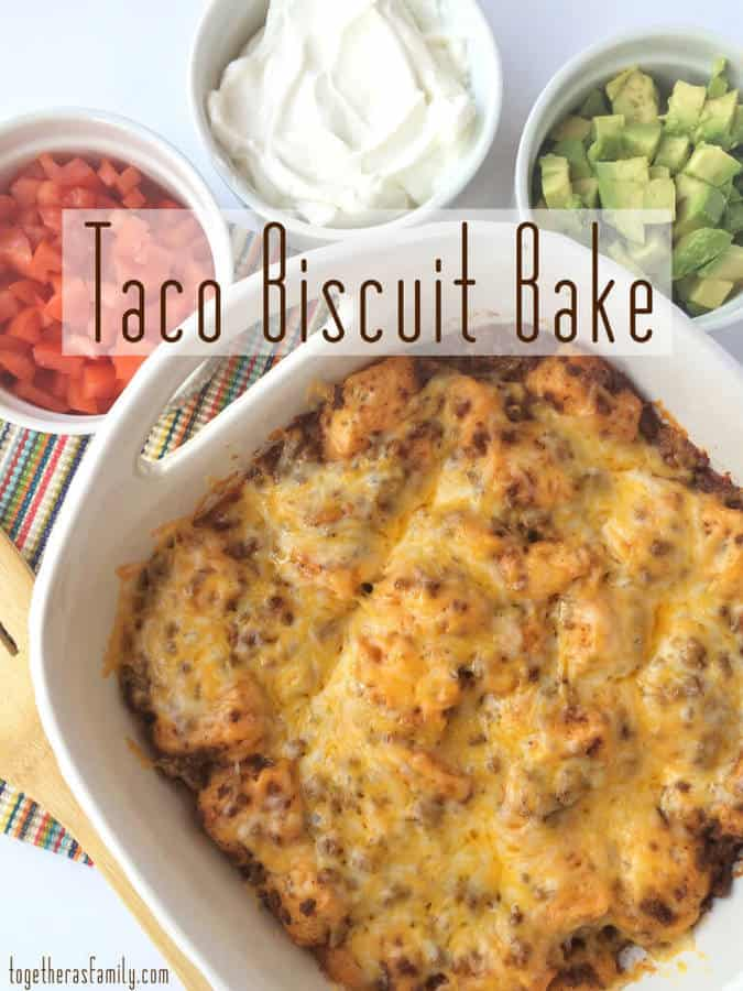 This incredibly easy and simple Taco Biscuit Bake dinner recipe is just what you need on a busy night when you're frazzled and don't have a ton of time or energy to cook! It uses delicious puffed up refrigerated biscuits that are smothered in a beefy taco mixture, and topped with melted cheese. | Featured on The Best Blog Recipes