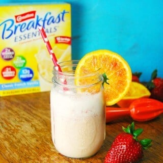 Nutritious breakfasts are important! Enter the Blood Orange Strawberry Smoothie with Carnation. It's full of fruit, yogurt, vitamins, minerals, and protein. | Featured on The Best Blog Recipes