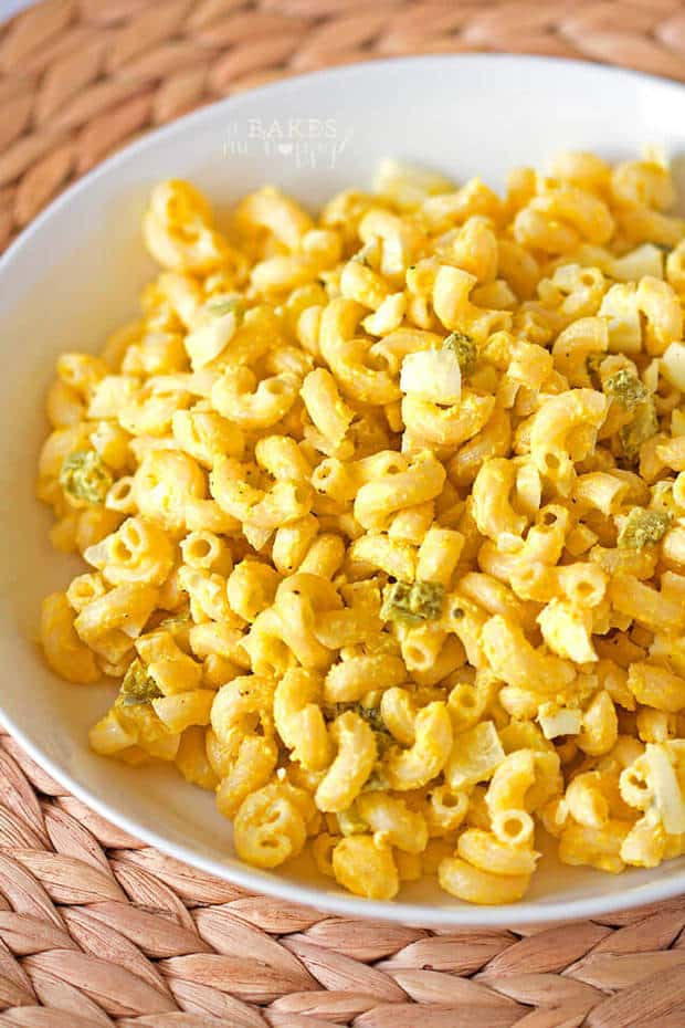 Classic Macaroni Salad is one of those recipes that's so easy to make and uses simple ingredients you probably already have on hand. It goes with just about every grilled meat that you can imagine and makes the perfect side dish for your family at dinnertime! | Featured on The Best Blog Recipes