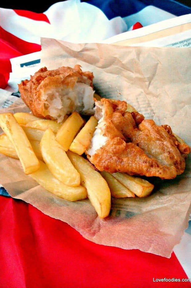 BRITISH BEER BATTERED FISH AND CHIPS -- with a batter that has been perfected so that it turns out with a tasty, light and crispy texture that your family is sure to enjoy!   Featured on www.thebestblogrecipes.com