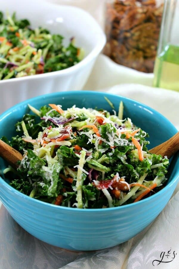 KALE AND BROCCOLI SLAW SALAD -- is a healthier recipe that is truly satisfying with a tangy dressing and freshly grated Parmesan! Featured on www.thebestblogrecipes.com